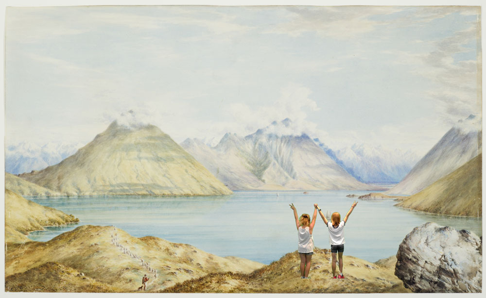 Two girls in a watercolour painting of mountains