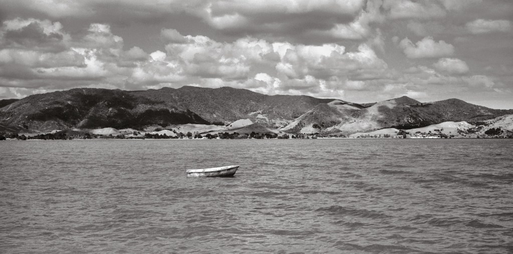Black and white photograph of Pākanae (fish trap), Hokianga, Northland
