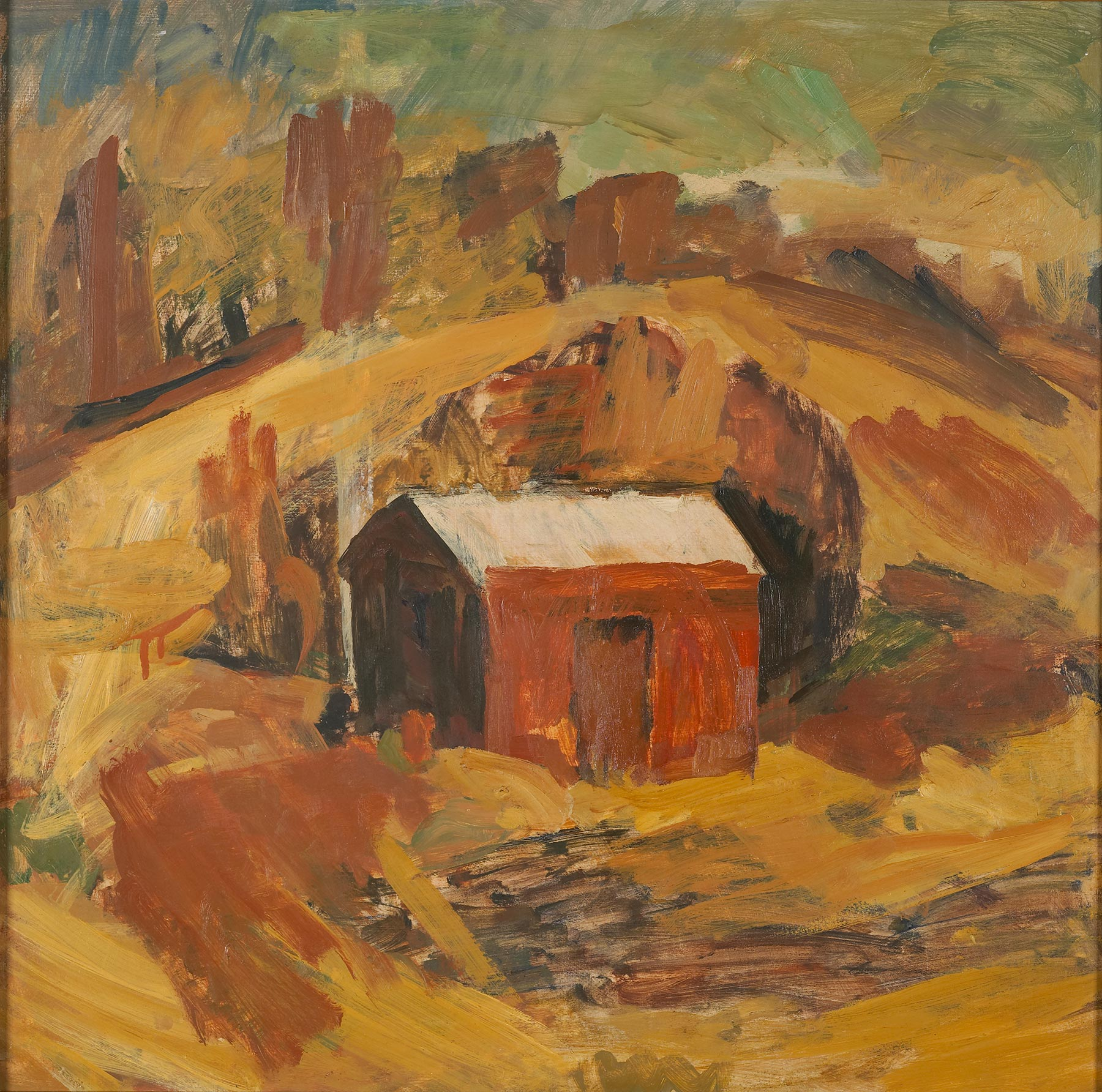 Oil painting of shed