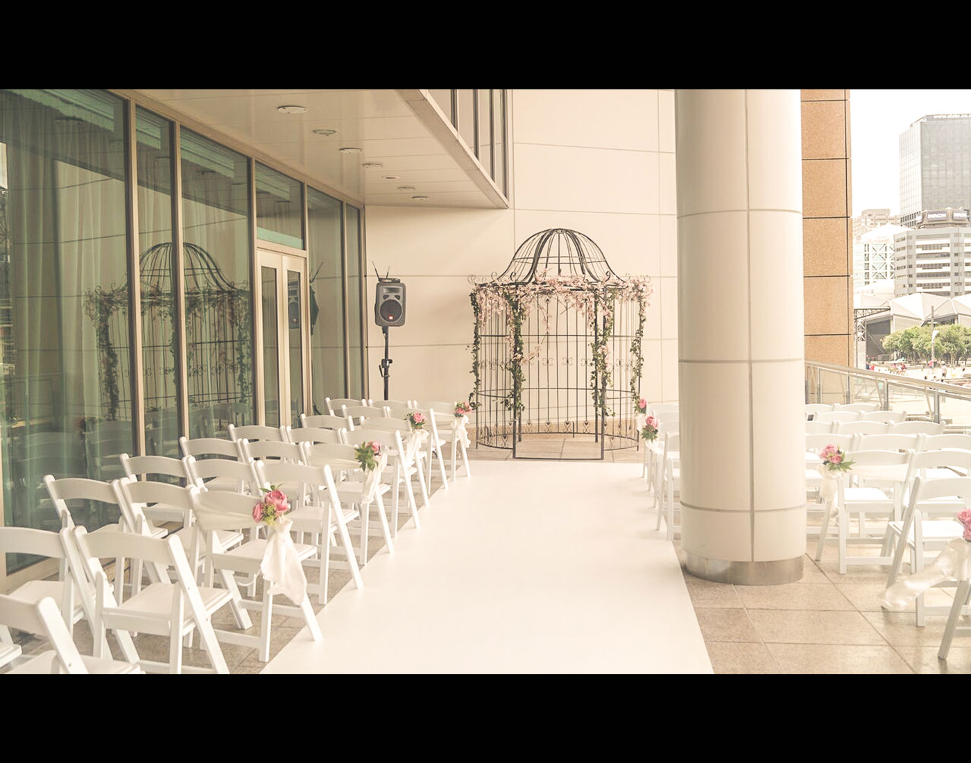 A balcony wedding set up for ceremony