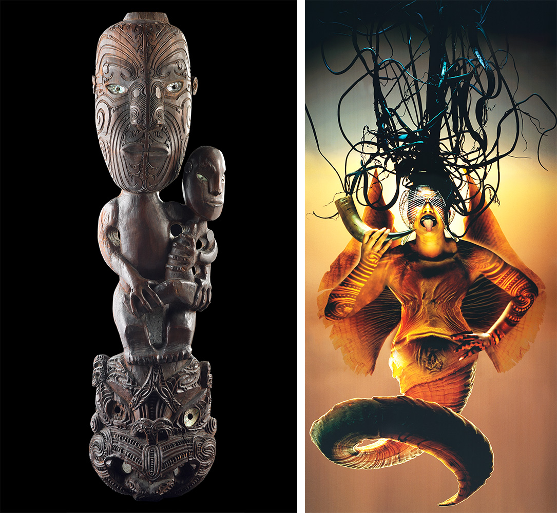 A Māori figure carving juxtaposed next to an image by modern artist Lisa Reihana of a female mythical figure