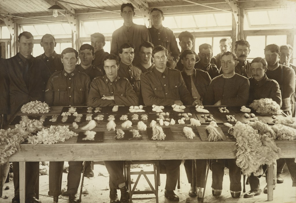 Twenty soldiers sit at a table with wool displayed on it