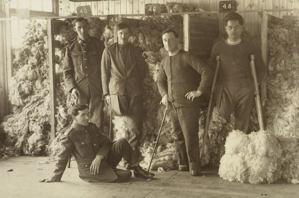 Five soldiers in a wool shed