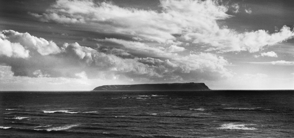 Black and white photograph of Mana Island, Wellington