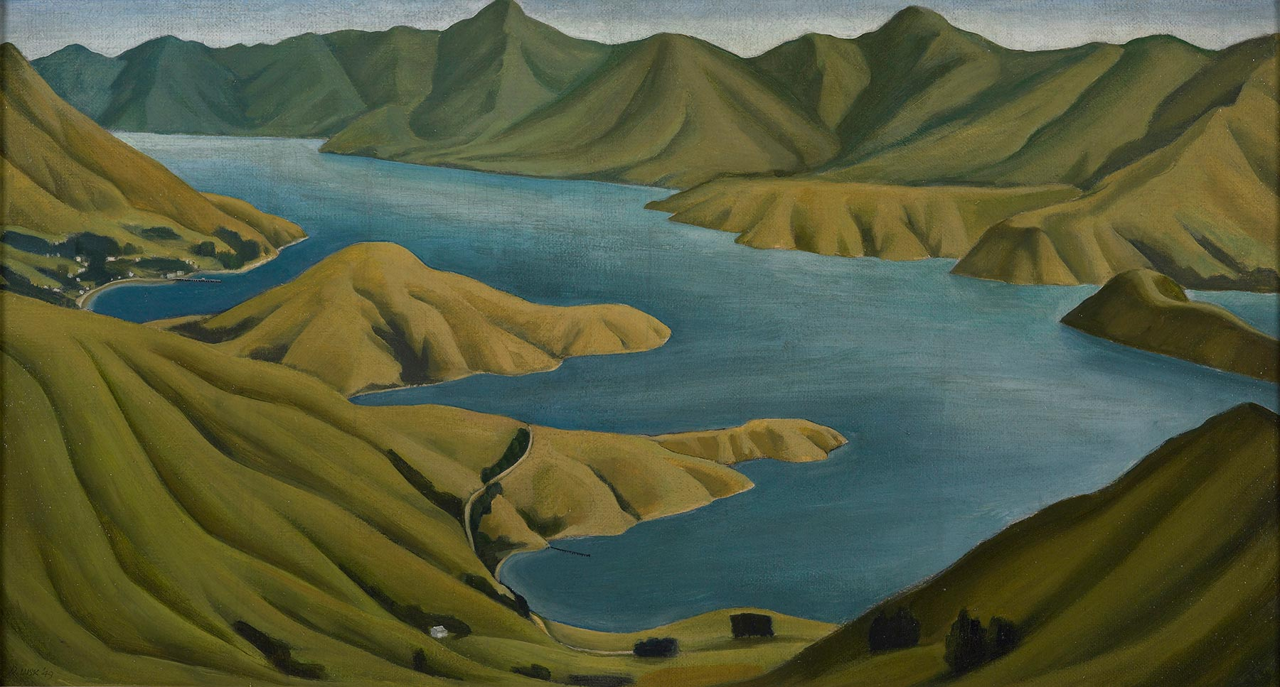 Oil painting of Akaroa Harbour