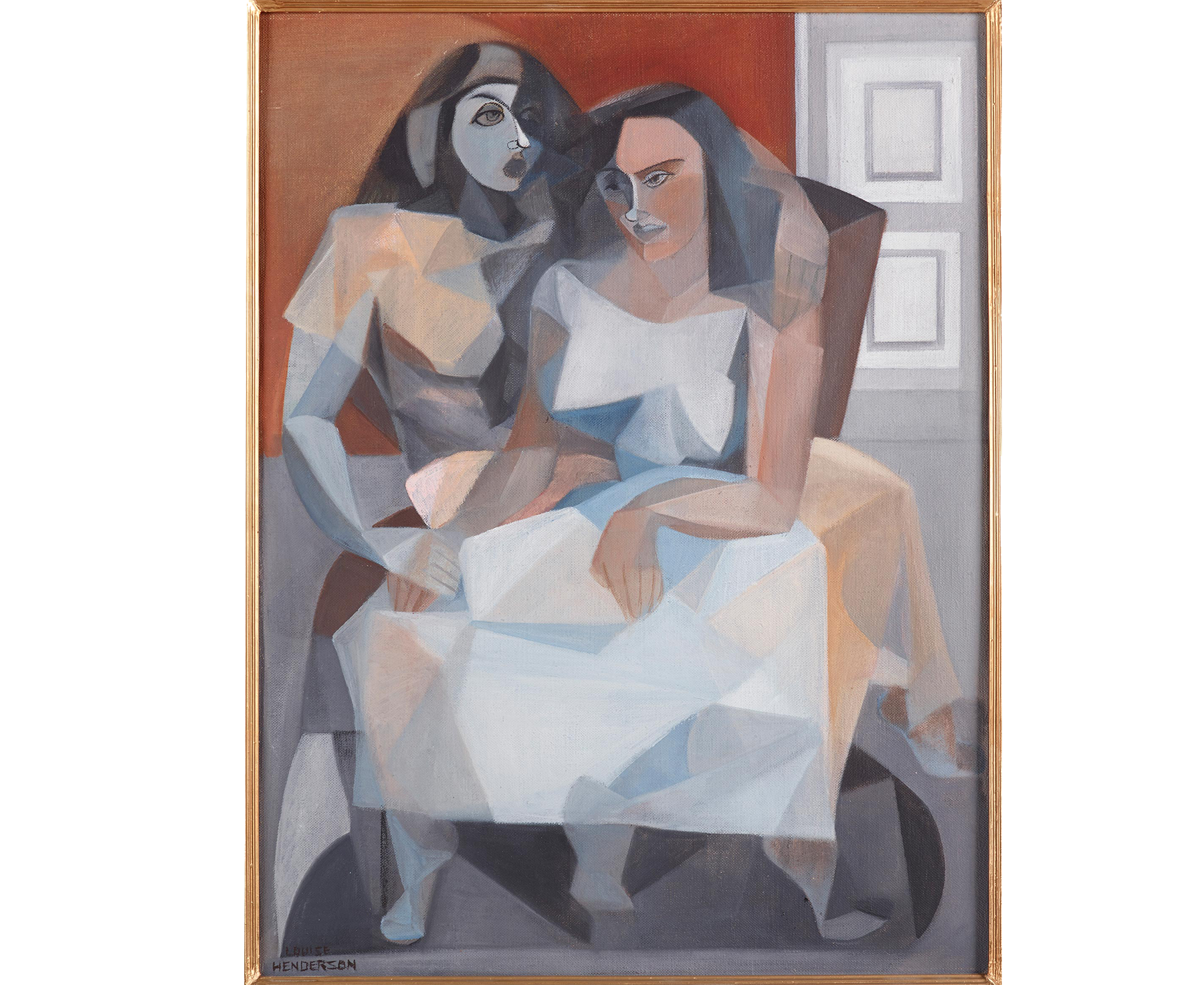 Oil painting of two figures