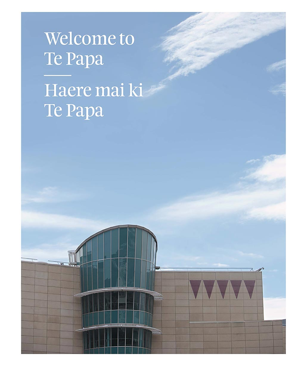 Book page showing Te Papa building