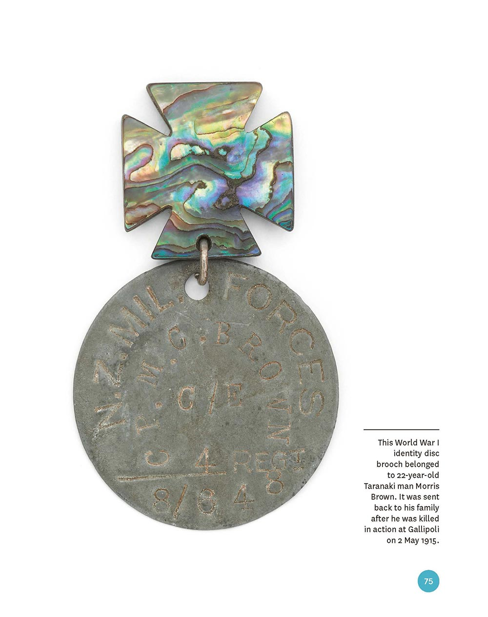 Paua cross and identity disc