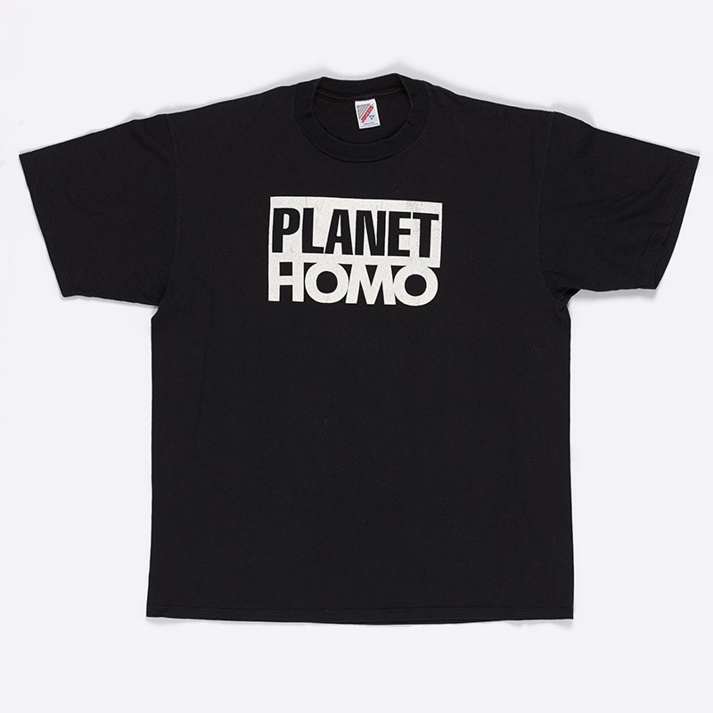 Black T-shirt with 'Planet Homo' written on it in large block text