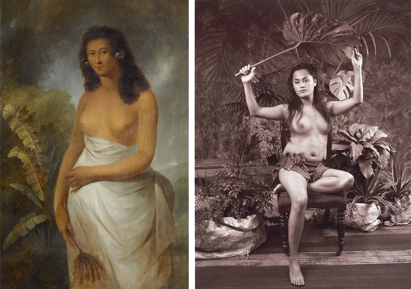 A painting of a bare-chested lady from the society islands next to a photograph of a Samoan lady half-dresses