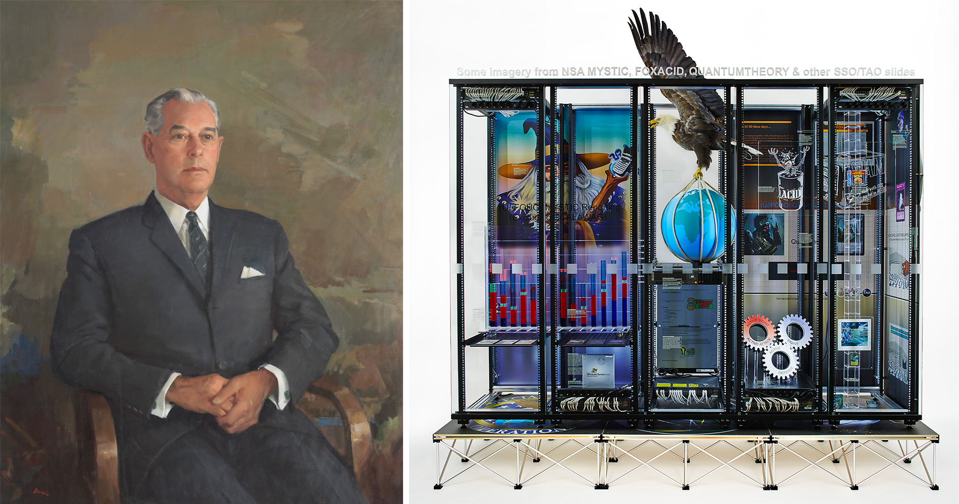 An oil painting Prime Minister Keith Holyoake next to a modern art piece by Simon Denny which is made up of bits of computers