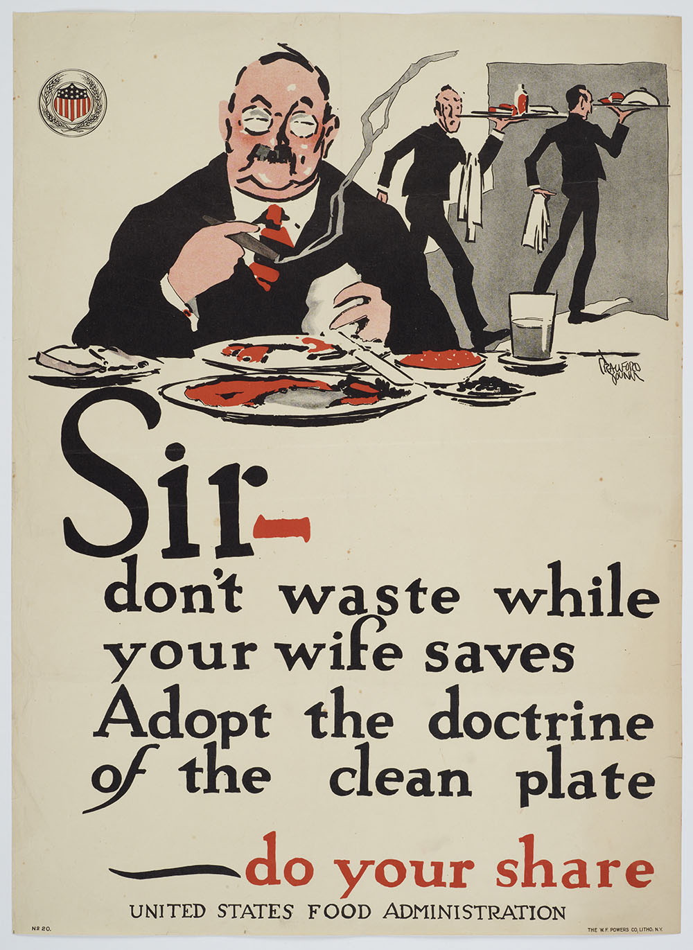 Poster with the word 'Sir, don't waste while your wife saves, adopt the doctrine of the clean plate - do your share'