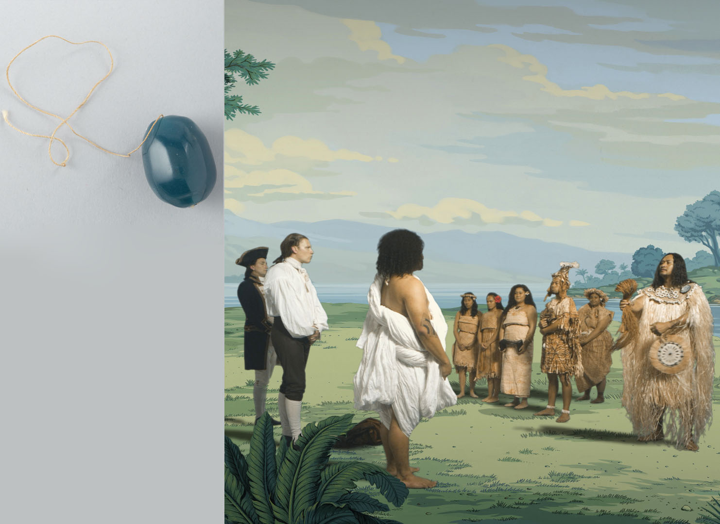 On the left a blue bead, on the right a still from in Pursuit of Venus [infected] showing people trading