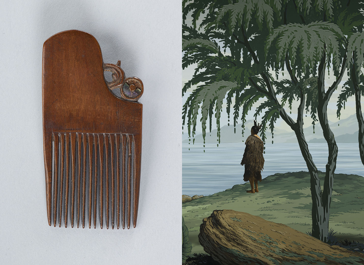 A man from Lisa Reihana's work has a comb in his hair - on the left is a similar comb from Te Papa's collections
