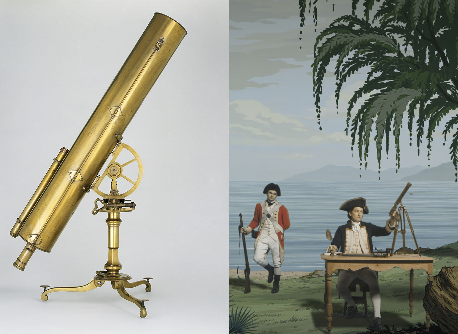 On the left, a brass telescope from the 1700s, on the right, in a still from in Pursuit of Venus [infected], a man playing James Cook sits at his desk writing, while looking at his telescope