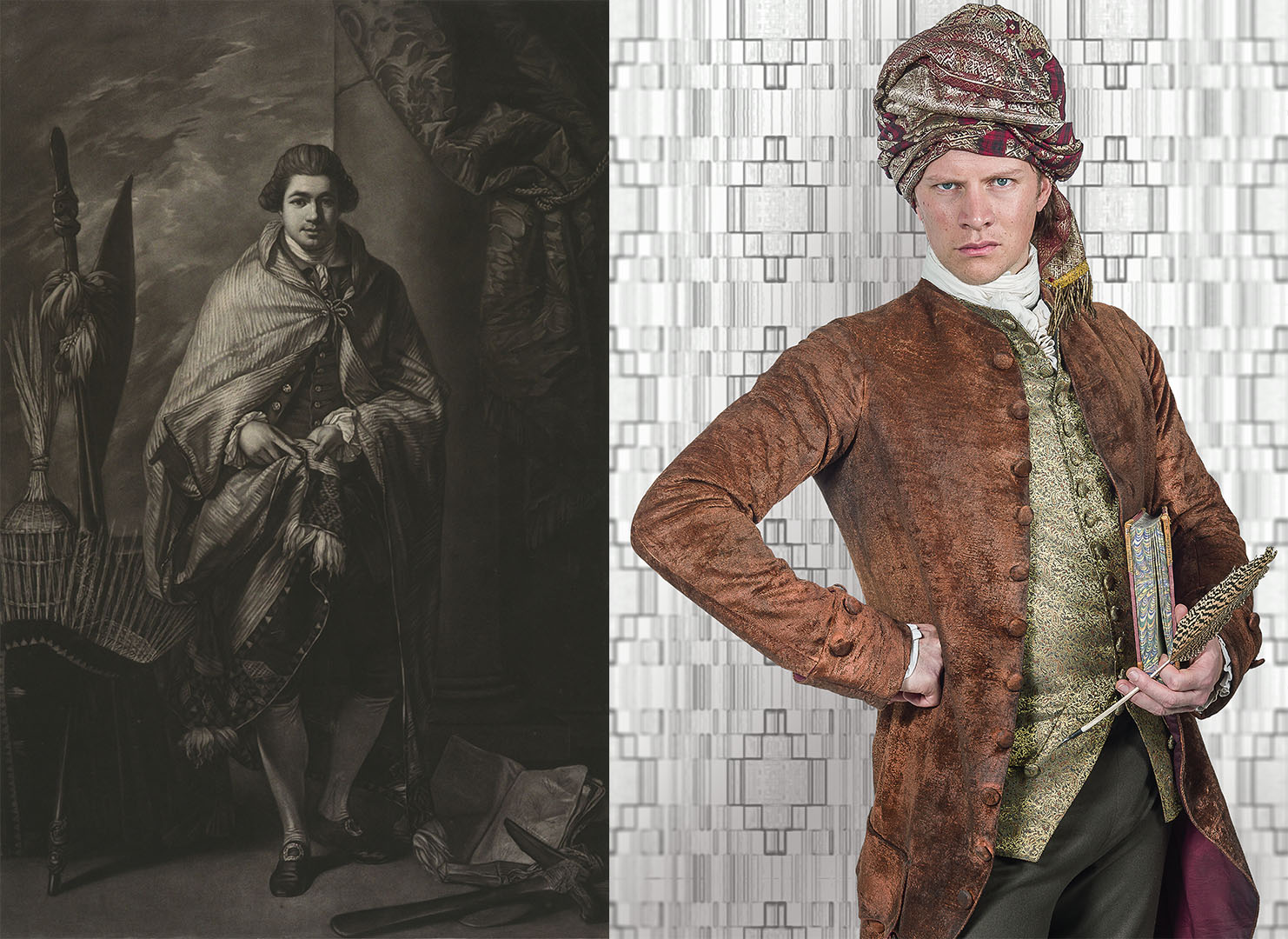 On the left, an illustration of Joseph Banks, on the right, a character poses as Joseph Banks