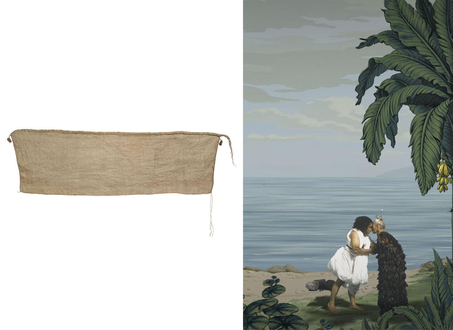 On the left is a woven cloak, on the right is a still from in Pursuit of Venus [infected] showing two people participating in a hongi