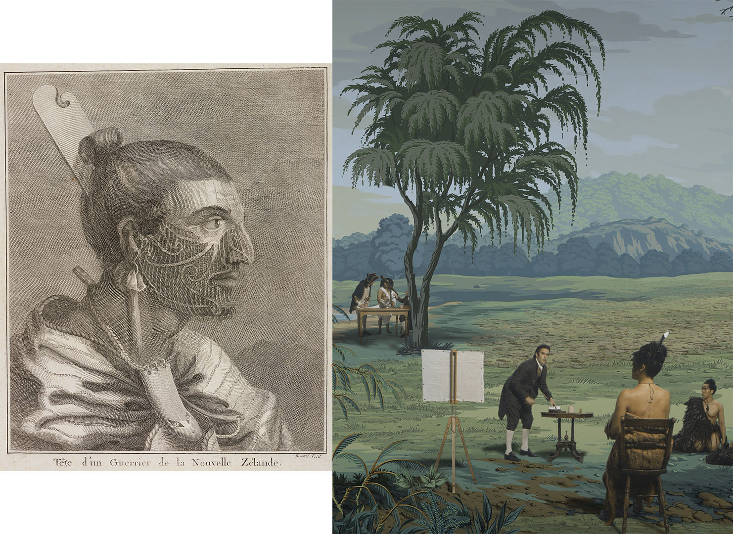 On the left is an illustration a man showing Tā moko, on the right in a still from in Pursuit of Venus [infected] shows a man posing for a portrait