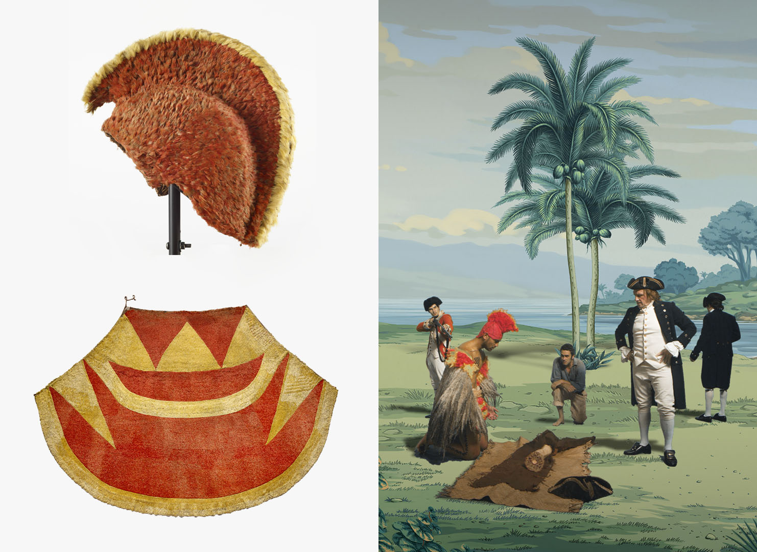 On the left is a bright orange feathered helmet and cloak, on the right is a still from Lisa Reihana's in Pursuit of Venus [infected] showing a man wearing these items