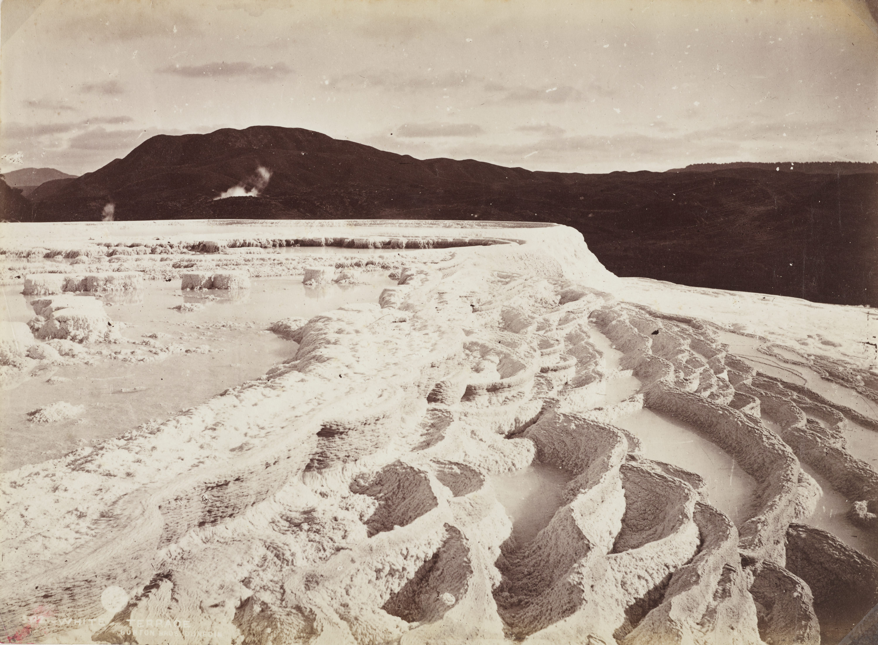 Albumen silver print photograph of the Pink and White Terraces