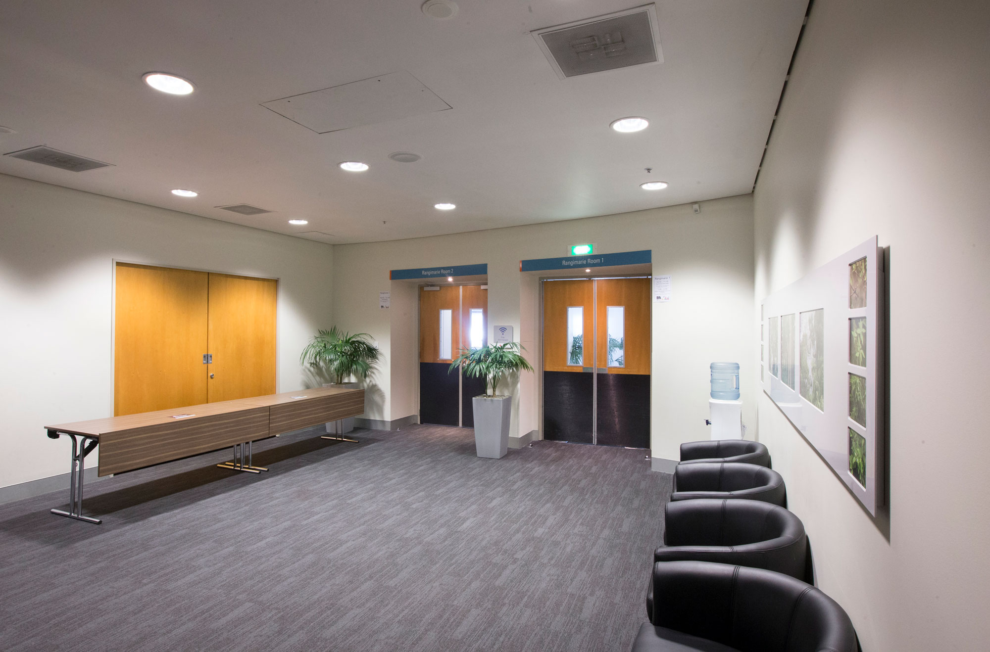 The reception area between the three meeting rooms