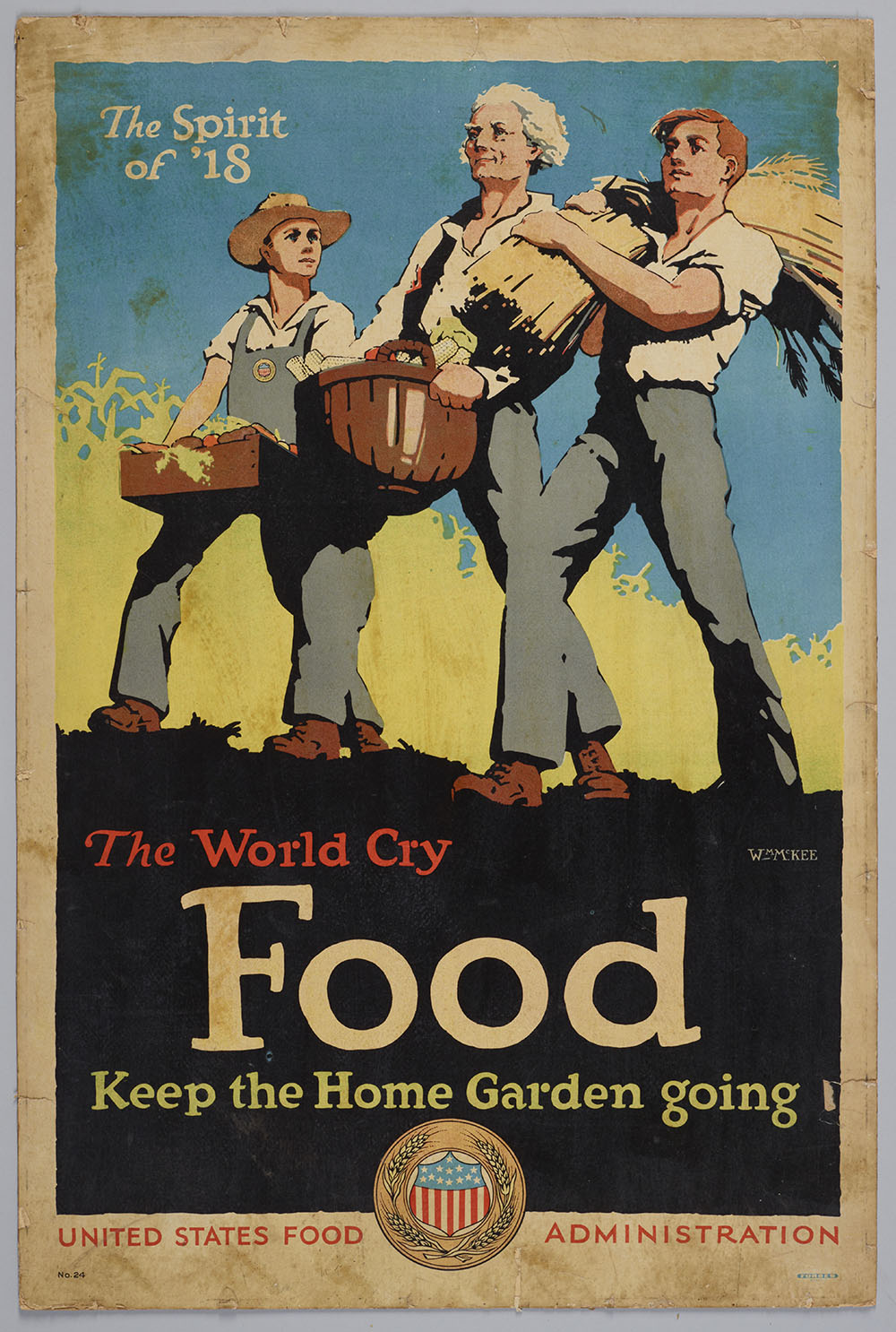 Poster featuring three men in a harvest, with the words 'The world cry food keep the home garden going'