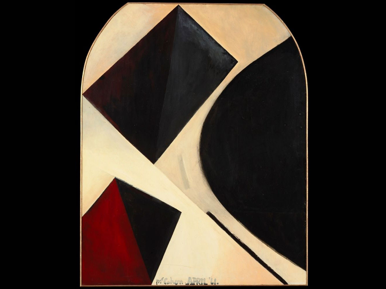 Geometric shaped in black, red, and beige