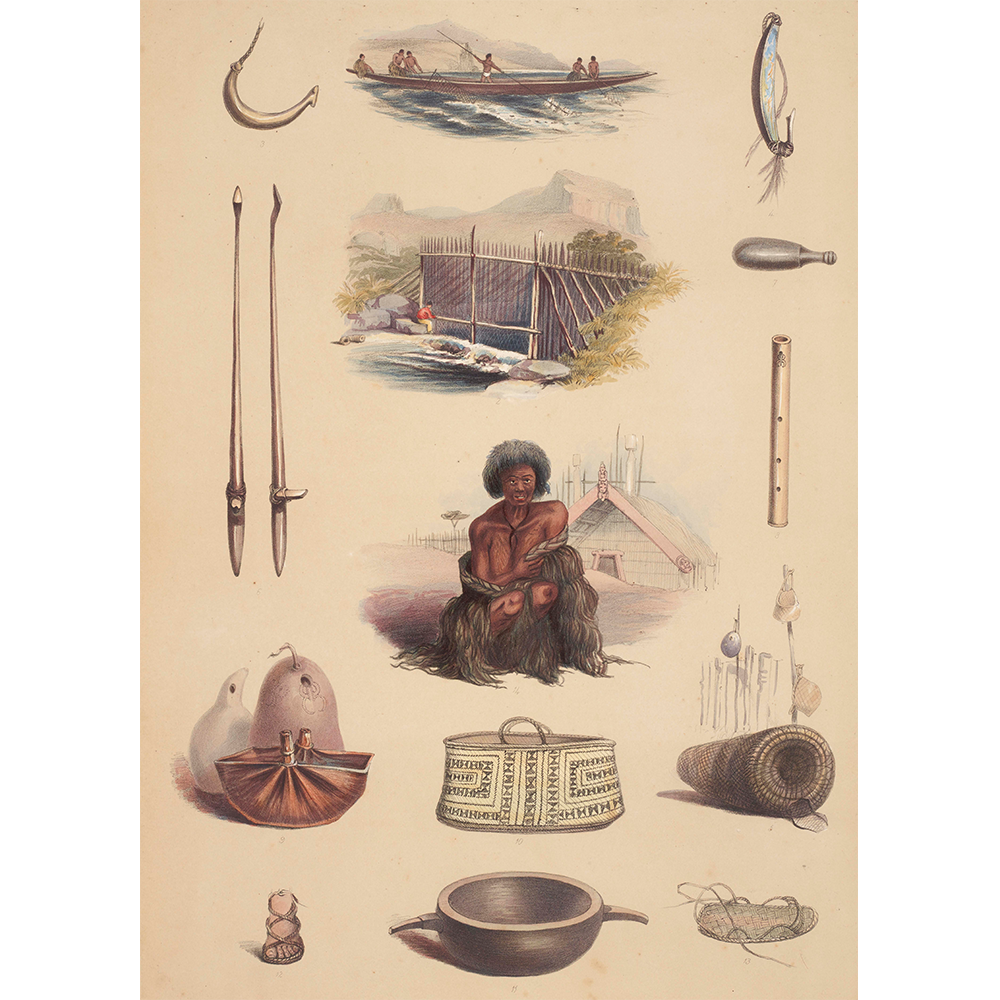 Water colour picturing different Māori fishing and gardening tools