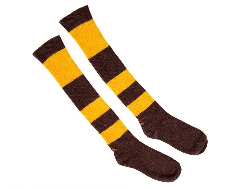 Brown and gold striped socks