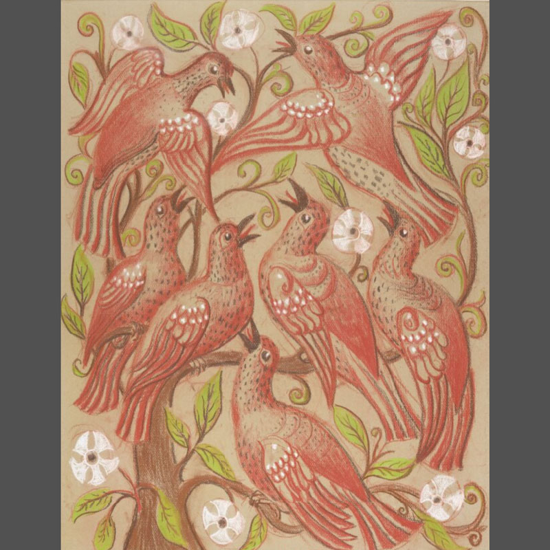 Drawing of lots of birds in shades of red