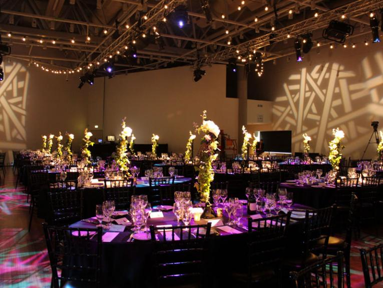 Venue set up for dinner with Christmas theming