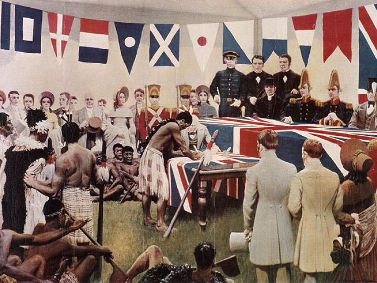 Painting depicting Tāmati Wāka Nene in the act of signing the Treaty of Waitangi in a tent surrounded by people