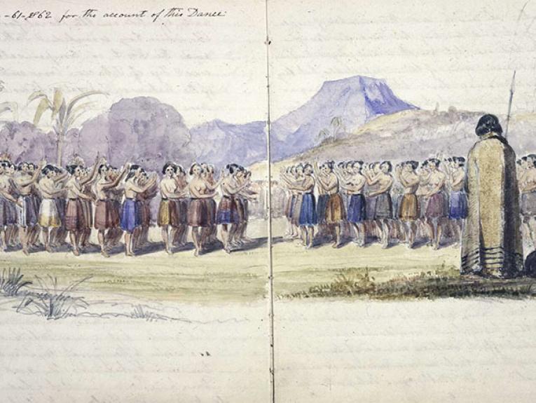 Watercolour of women dancing