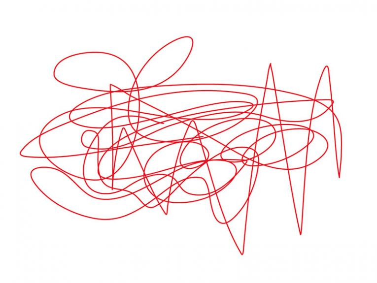 An abstract red squiggly drawing