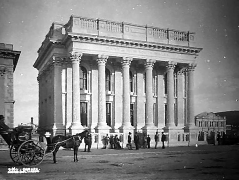 A photo from the 1880s of the Bank of New South Wales in Oamaru