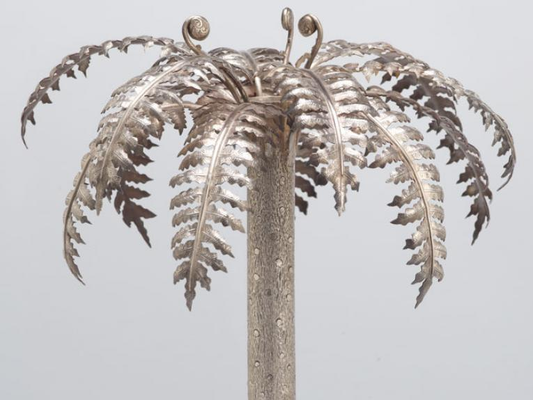 Table centrepiece, in the form of a Mamaku (tree fern), circa 1890, New Zealand, by Frank Grady. Purchased 1987 with Charles Disney Art Trust funds. CC BY-NC-ND licence. Te Papa (GH003567)