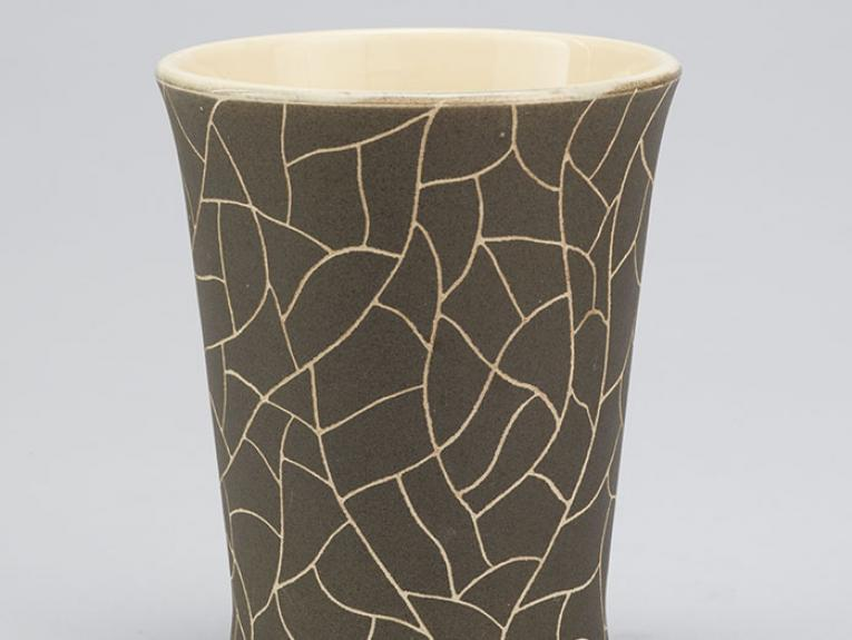 """Bohemia Ware"" vase., 1951-1952, New Zealand, by Mirek Smisek, Crown Lynn Potteries Ltd. Purchased 2009. CC BY-NC-ND licence. Te Papa (GH012539)"