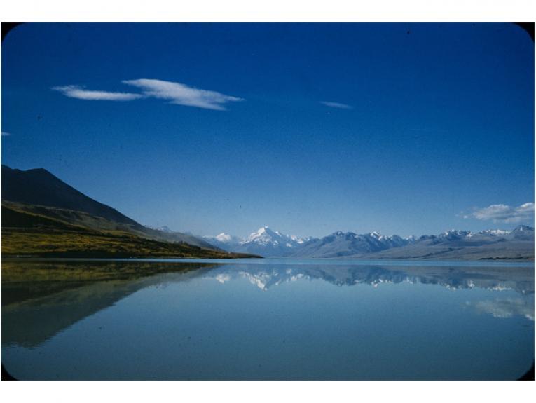 Lakes. Lake Pukaki, 1960s-1980s, Canterbury, by Brian Brake. Gift of Mr Raymond Wai-Man Lau, 2001. Te Papa (CT.030312)