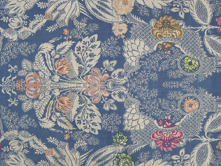 Unpicked brocade fabric in floral pattern