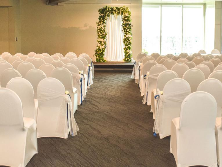 Room setup for a wedding ceremony