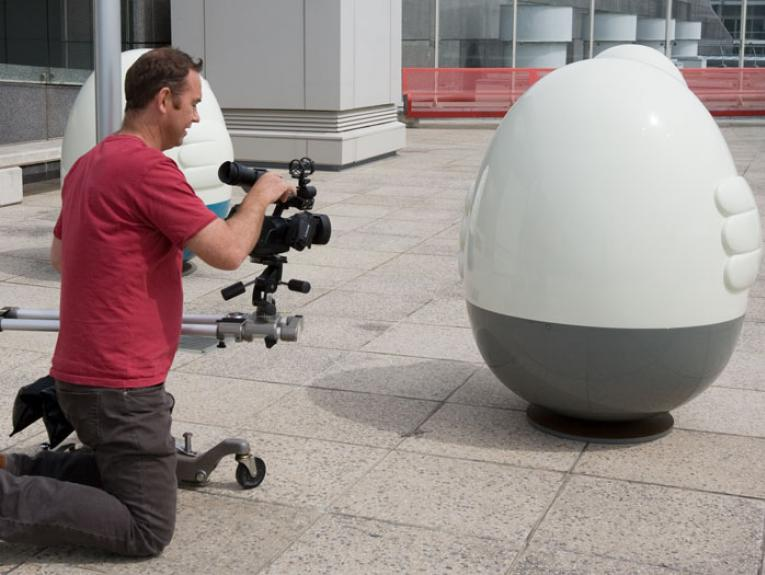 Filming at the Oddooki exhibition. Photograph by Julie-Ann Larsen. Oddooki, 2008, Auckland, by Seung Yul Oh. Purchased 2009. Te Papa (2009-0025-1/1 to 5)