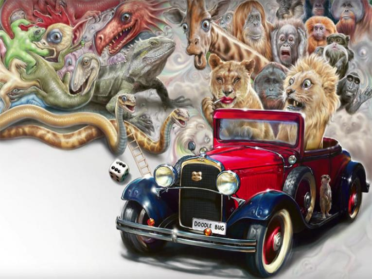 Drawing of a number of animals in a 'Doodle Bug' car