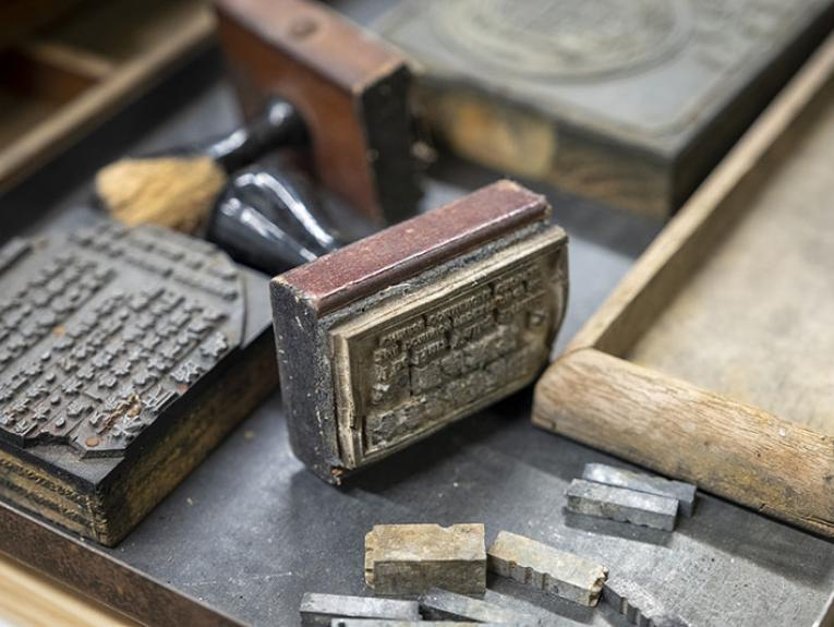Close up on rubber stamps with Chinese lettering on them