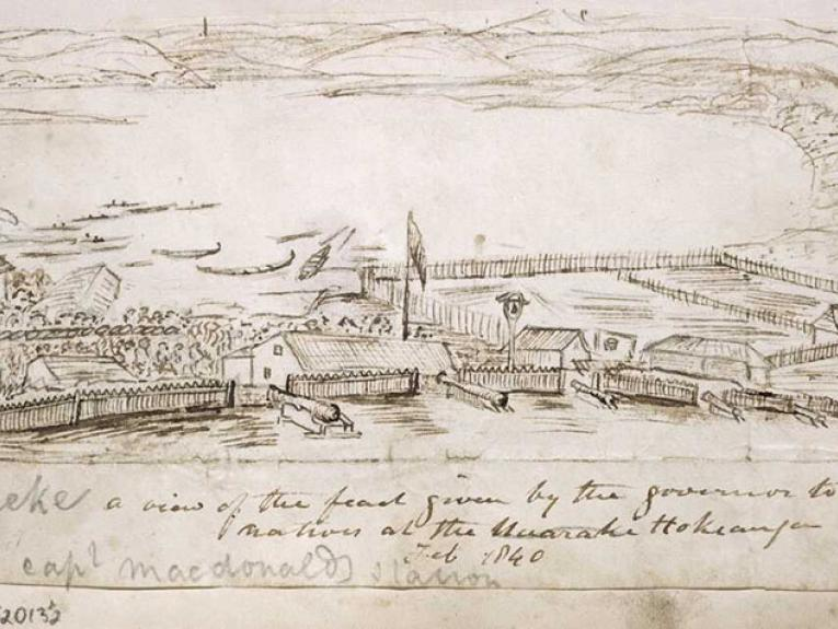 Illustration of festivities at McDonnell's house. The front garden with six cannon, fences, buildings, a large crowd, 3 flags on flagpoles, many canoes drawn up at the water's edge, the Hokianga River and the hills beyond.