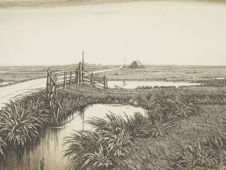 Etching of a canal scene