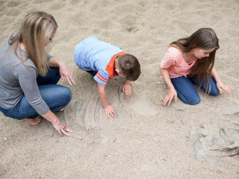 Family in the fossil dig, 2015. Photograph by Michael Hall. Te Papa