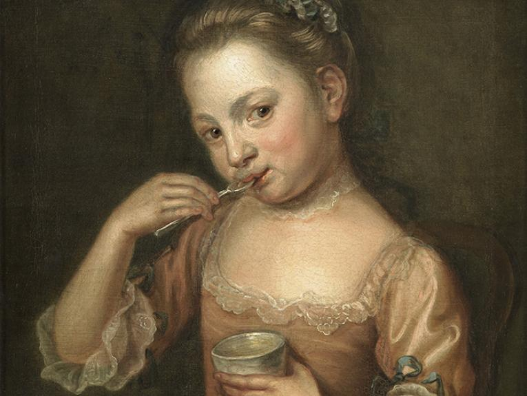 Painting of a little girl licking food off a spoon