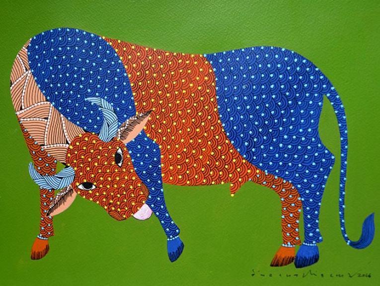 Gond art image bull
