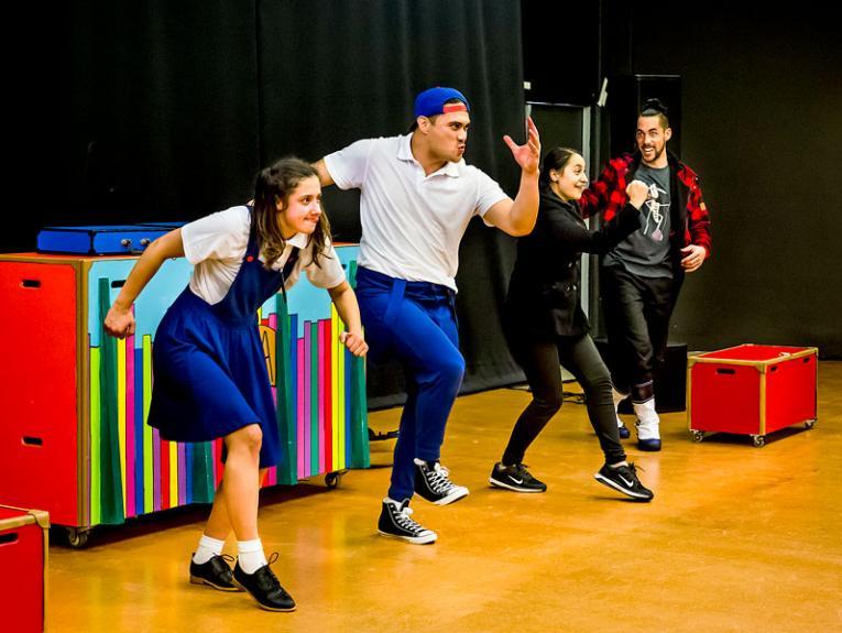 Actors performing a play