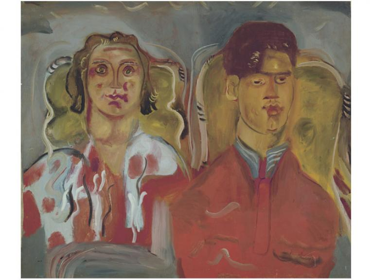 Double portrait No. 2 (Katharine and Anthony West), 1937, Tisbury, by Frances Hodgkins. Purchased 1967 from Wellington City Council Picture Purchase Fund. Te Papa (1967-0006-1)